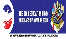 Biasiswa The Star Education Fund Scholarship Awards 2020