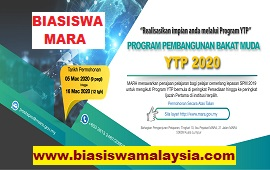 Biasiswa MARA – Program Pembangunan Bakat Muda (YTP) 2020